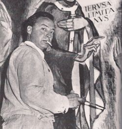 Fidel Trias in the church of Bellaterra, 1958
